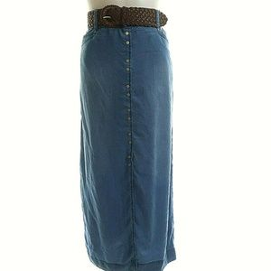 INC M Maxi Skirt Chambray Denim Blue Button Front